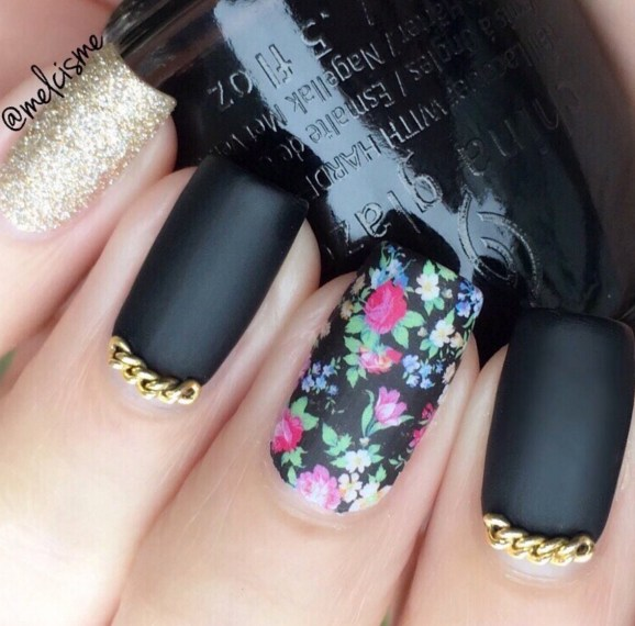 Gel Nail Designs and More: Floral Matte Nail Art