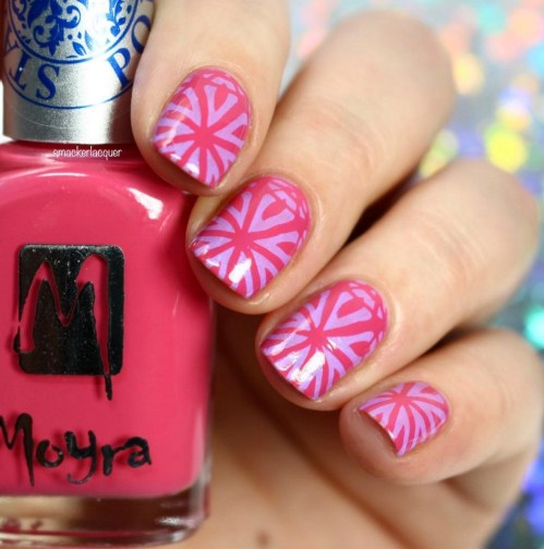 Gel Nail Designs and More: Pink Stamped Nail Art