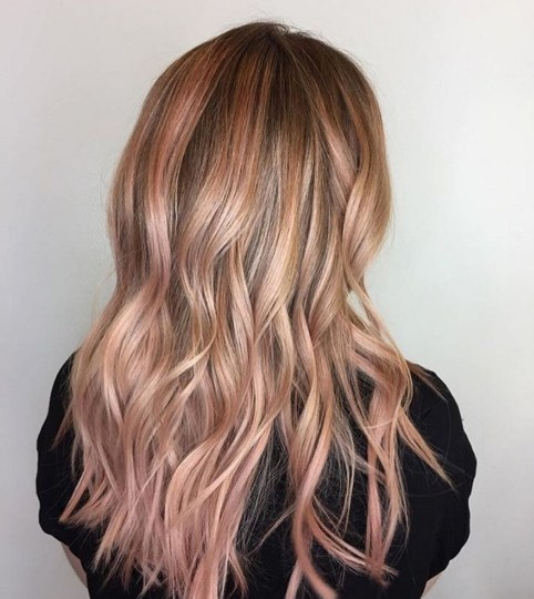 Rose Gold Balayage Hair Color Idea