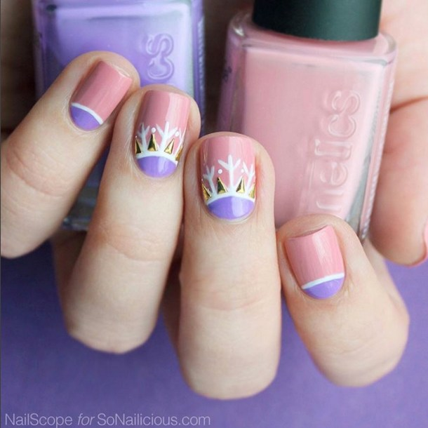 Winter Nail Designs: Purple & Pink Snowflake Nail Art