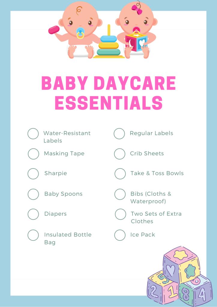 Baby Daycare checklist