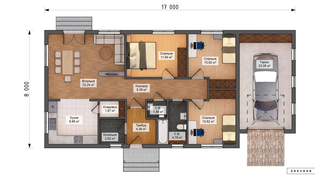Строительство каркасного дома по проекту Де-мойн, план проекта K004