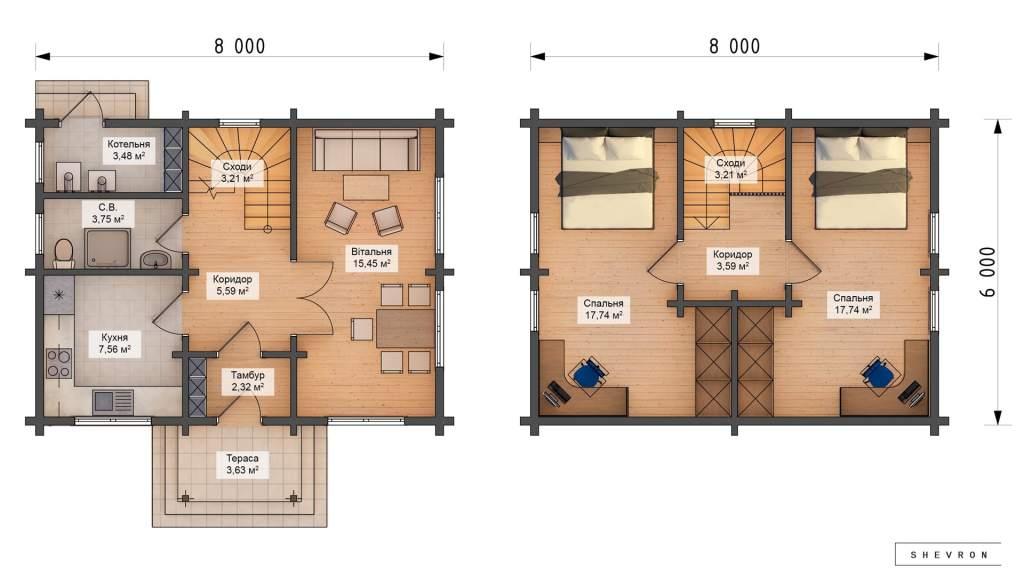 Проект деревянный дом, строительство дома из бруса, сруба D006