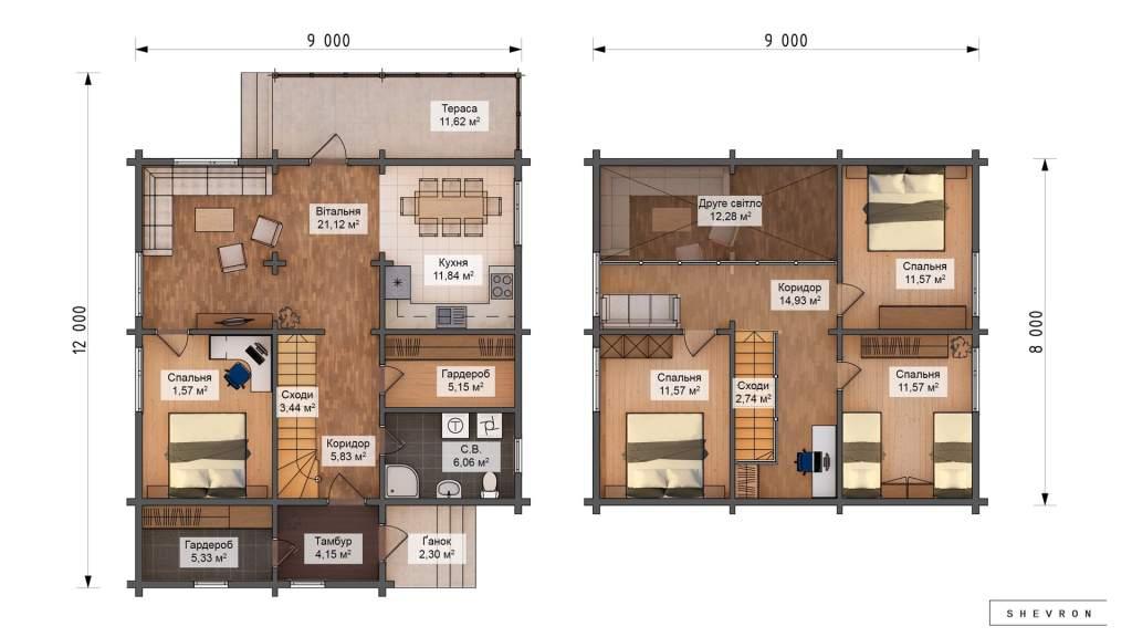 Проект деревянный дом, строительство дома из бруса, сруба D022