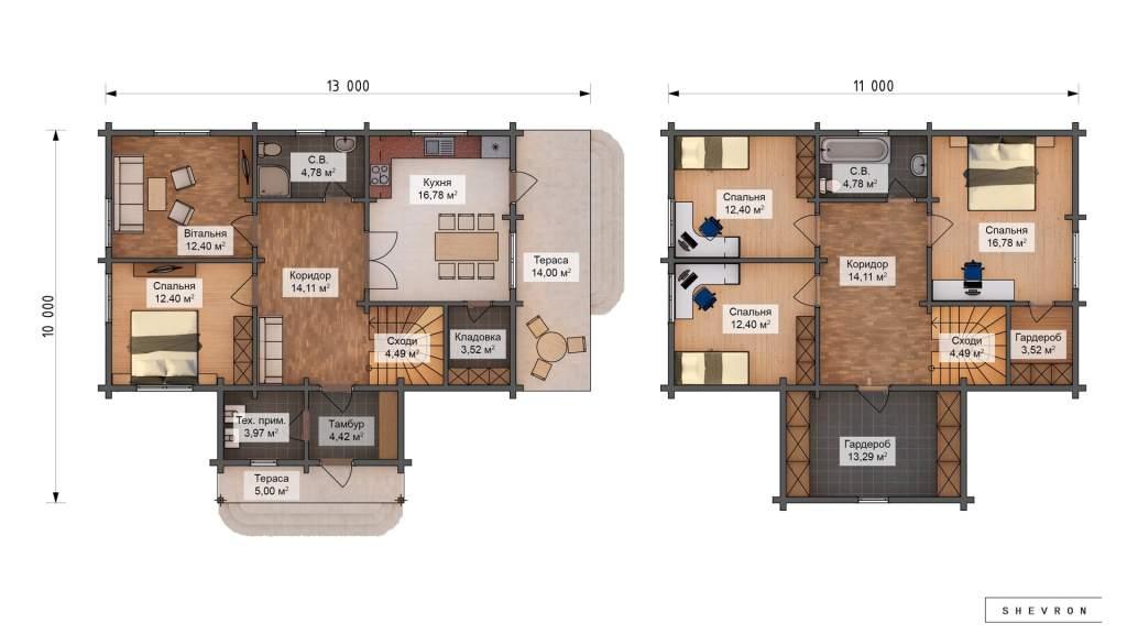 Проект Строительство деревянный дом Житомир D023 дом из бруса дерева