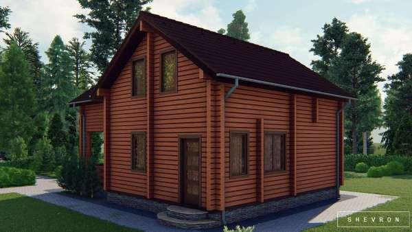 Строительство деревянного дома Алина из бруса, деревянный дом по отлиыной цене проект D002