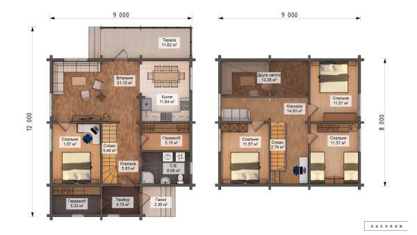 План строительства деревянного дома по проекту Элегант D022