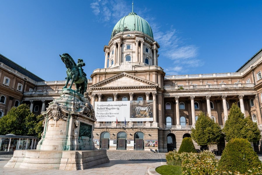 View of the Buda Castle and the Statue of Prince Eugene of Savoy