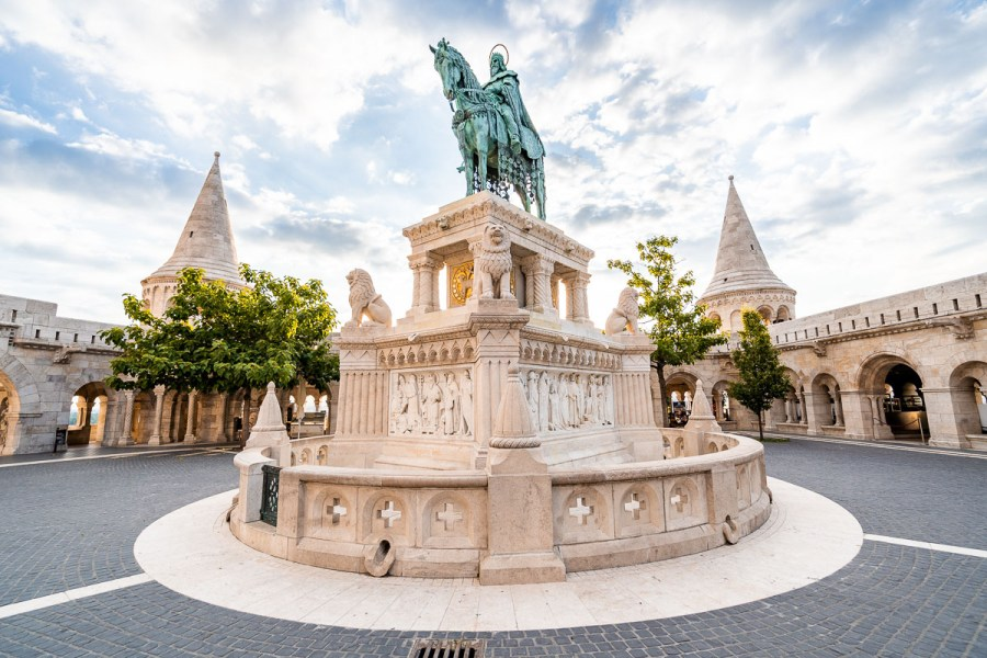 Statue of St. Stephen at the Fisherman's Bastion in Budapest, Hungary
