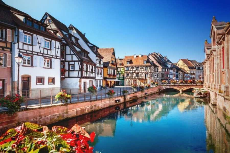 Colorful houses by the river in Colmar, France