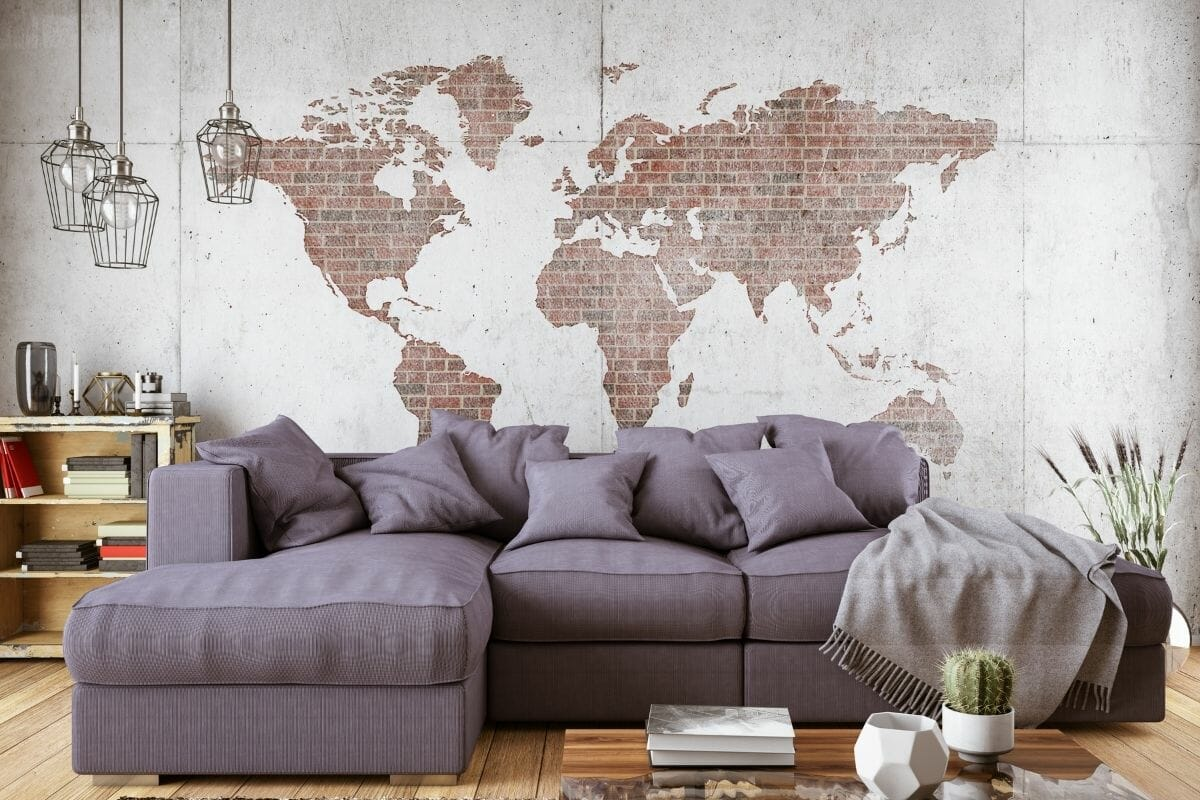 Living Room with Sofa and World Map