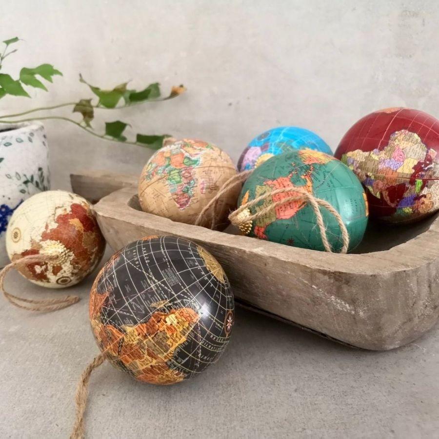 World Map Christmas Tree Ornaments