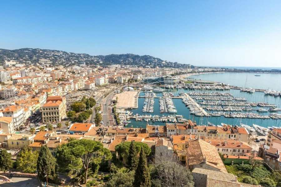 Aerial city view of Cannes, France