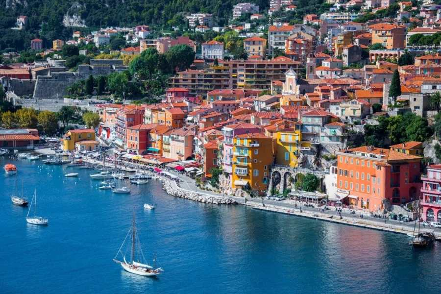 Aerial view of Villefranche-sur-Mer, France