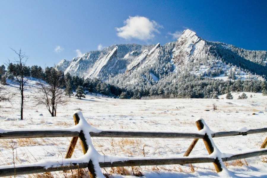 Boulder Flatirons in winter, USA