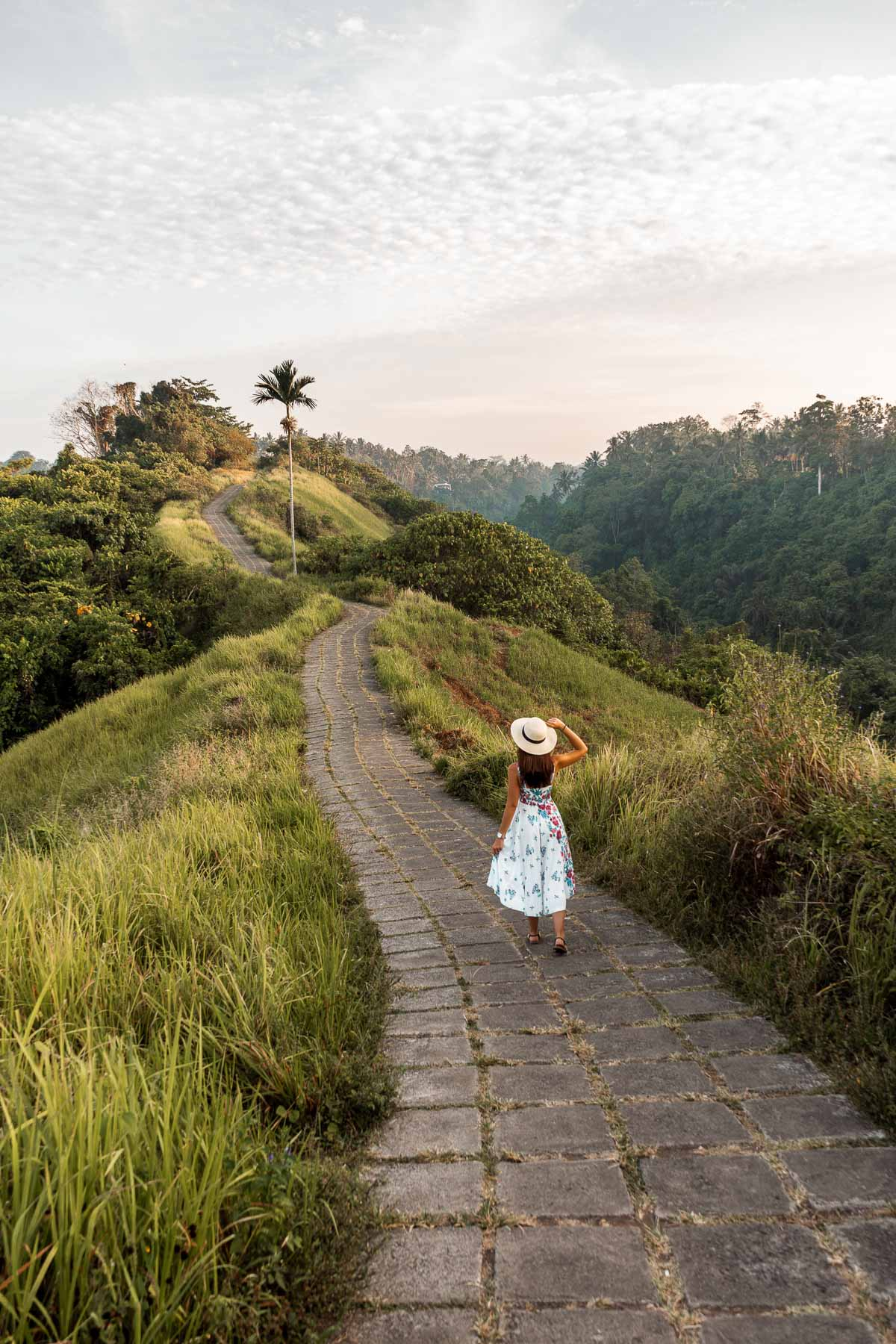 Girl walking on the Campuhan Ridge Walk in Ubud, Bali