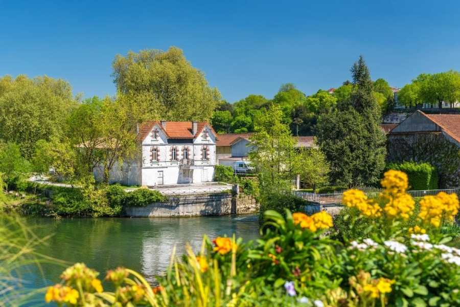 Charente River in summer at Cognac, France