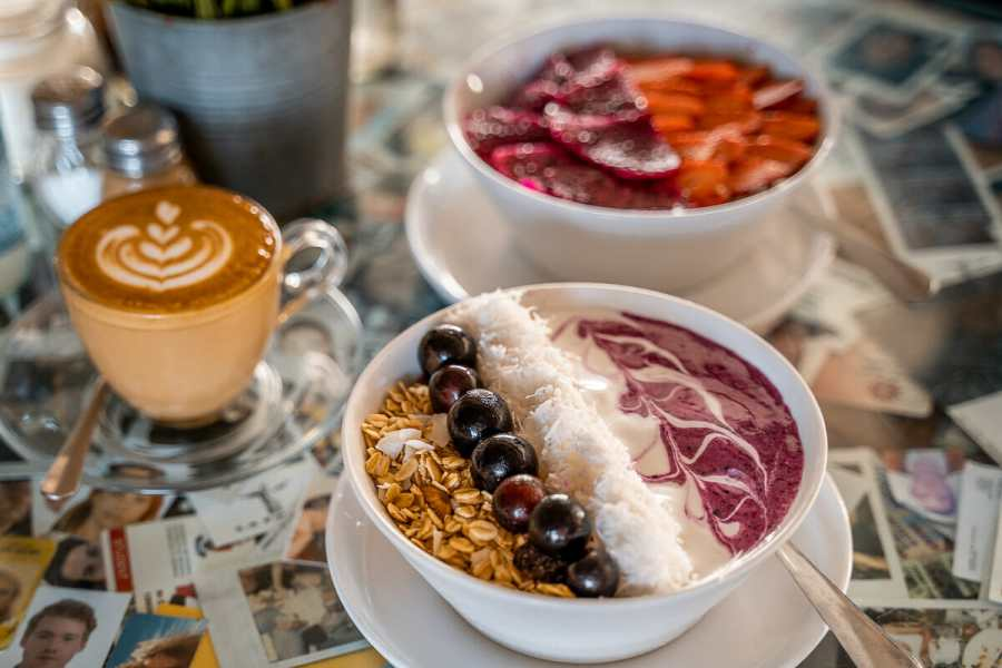 Breakfast with smoothie bowls at Crate Cafe in Canggu, Bali