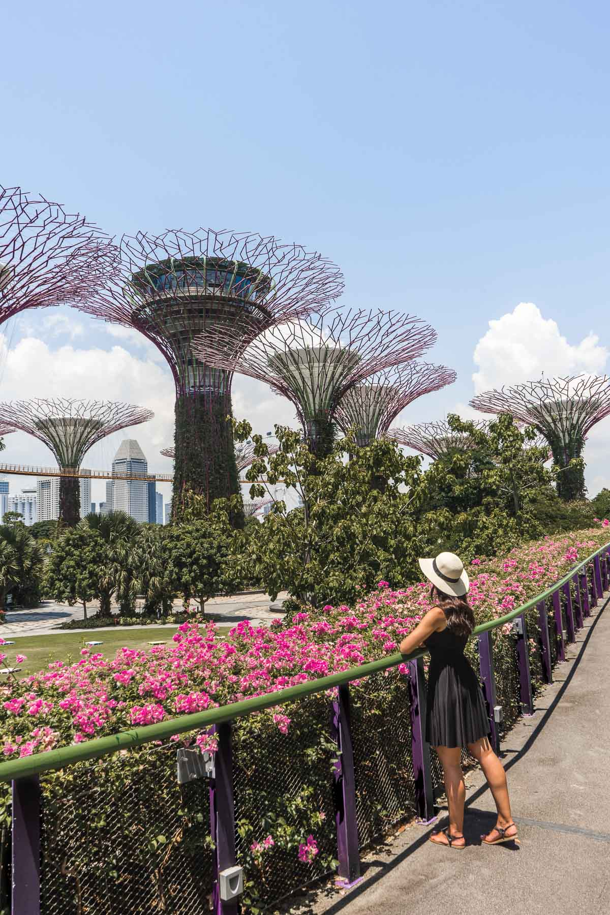 Girl in a black dress standing in Gardens by the Bay in Singapore