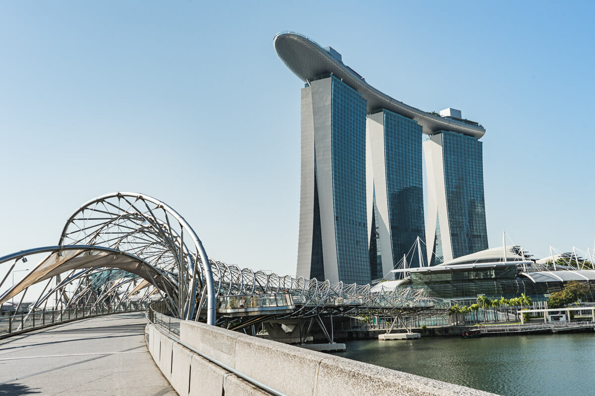 Marina Bay Sands and Helix Bridge in Singapore