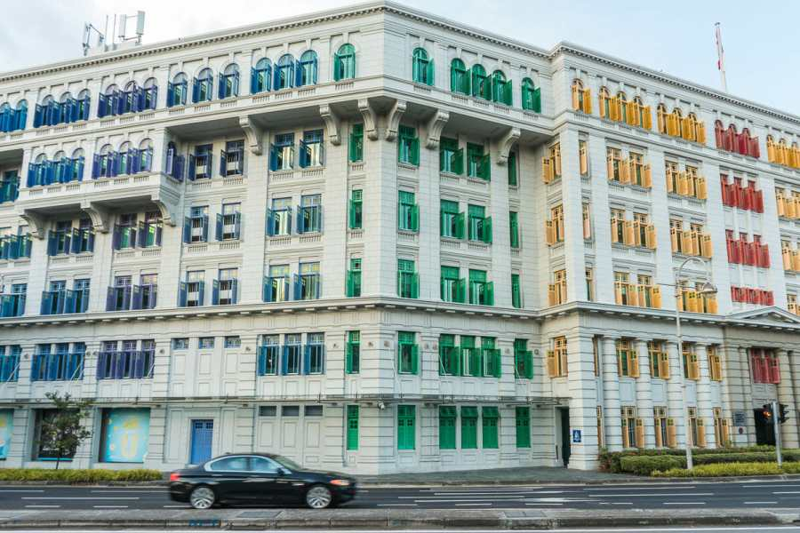 Colorful shutters on Old Hill Police Station in Singapore