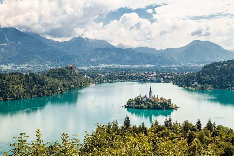 Panoramic view of Lake Bled, Slovenia