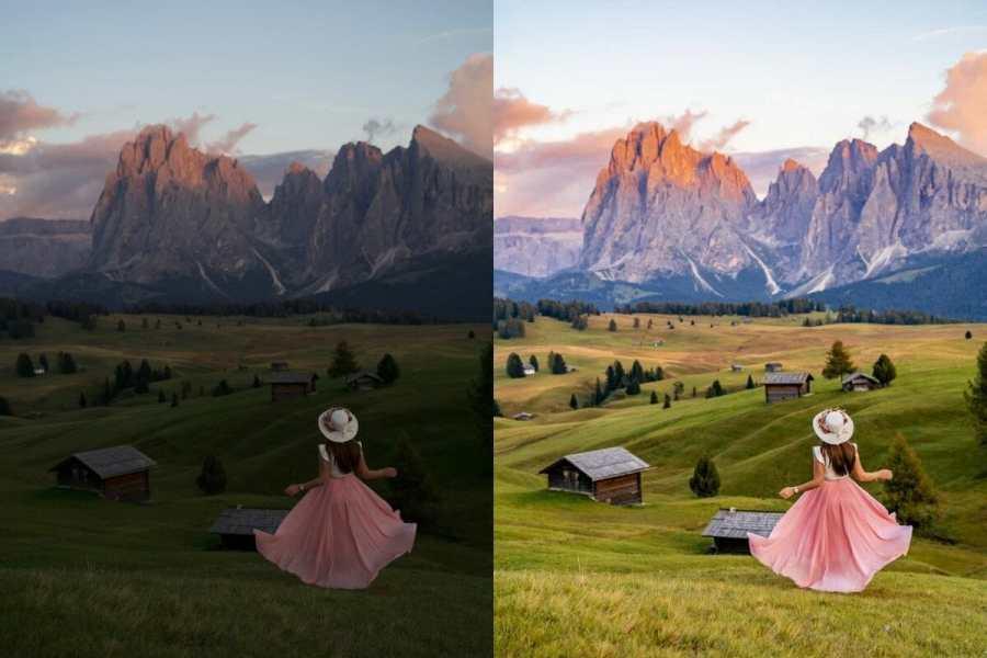 Alpe di Siusi Before-After with Lightroom Preset