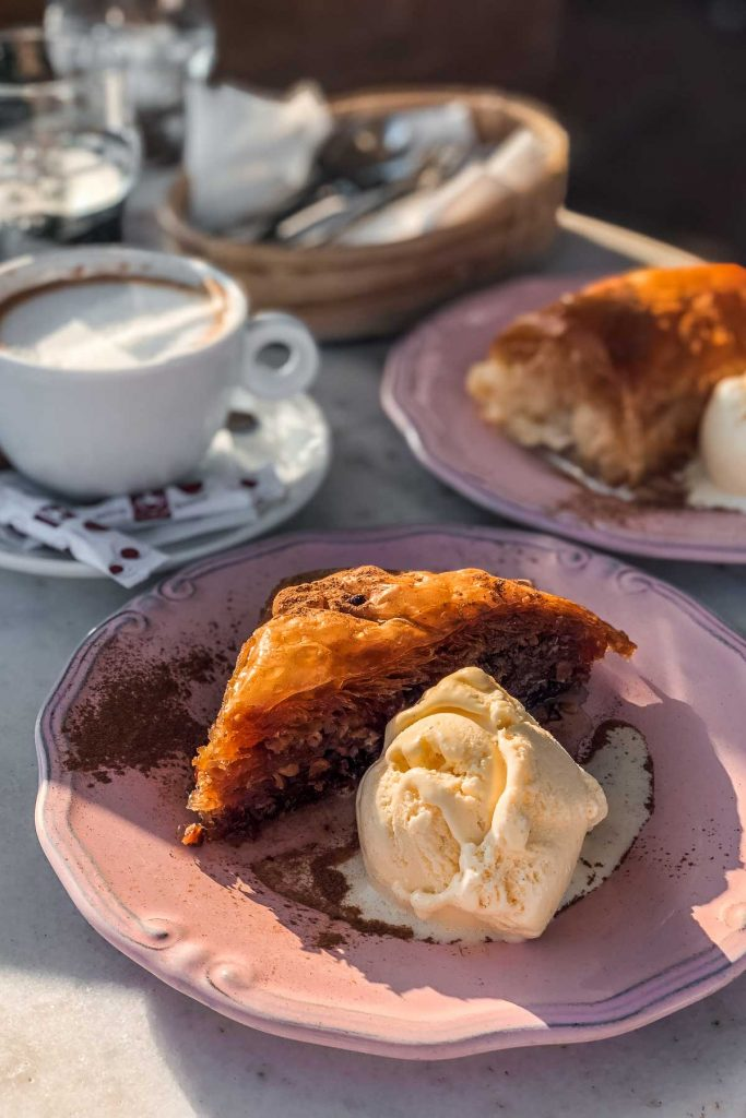 Baklava and a cup of coffee in Oia, Santorini