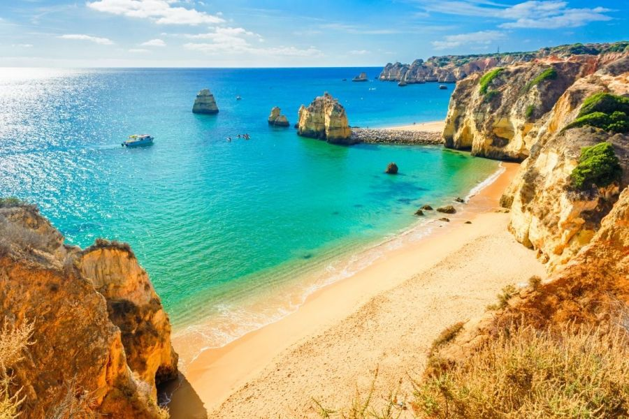 Beautiful sandy beach near Lagos in Algarve, Portugal