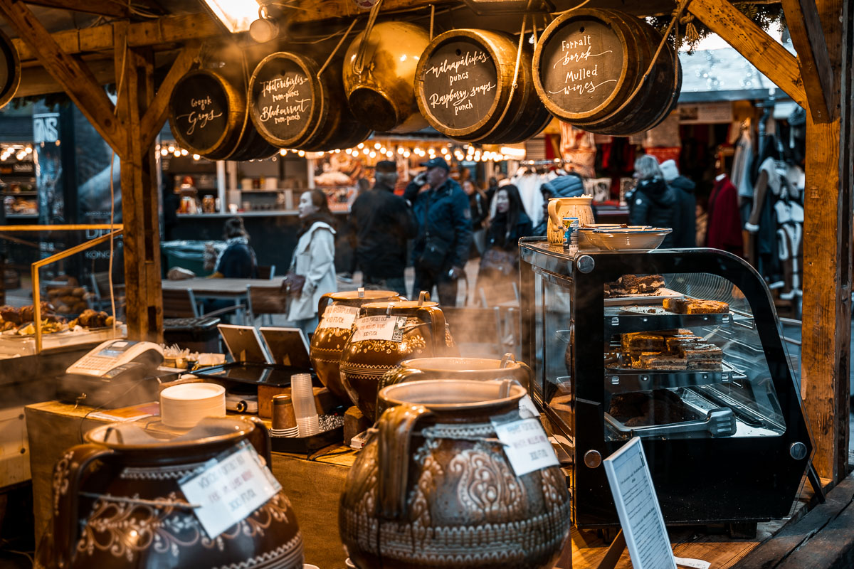 Food stalls at the Christmas markets in Budapest