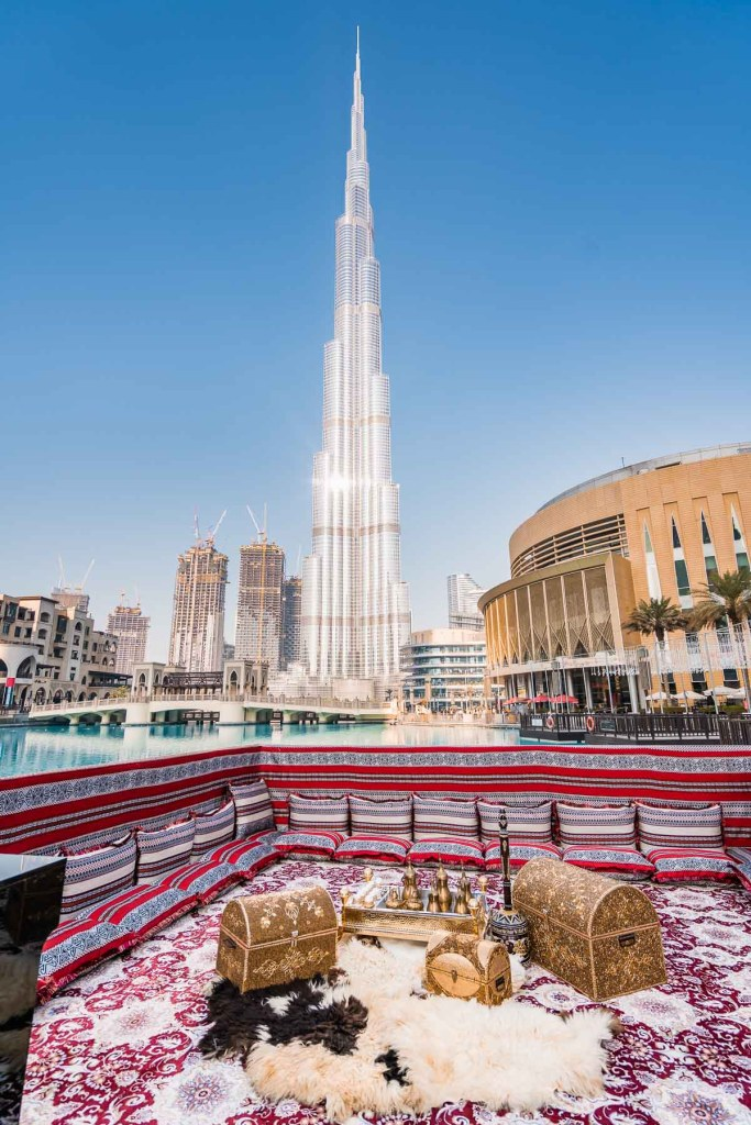 Photo spot designed in Arabic style with the Burj Khalifa in the background