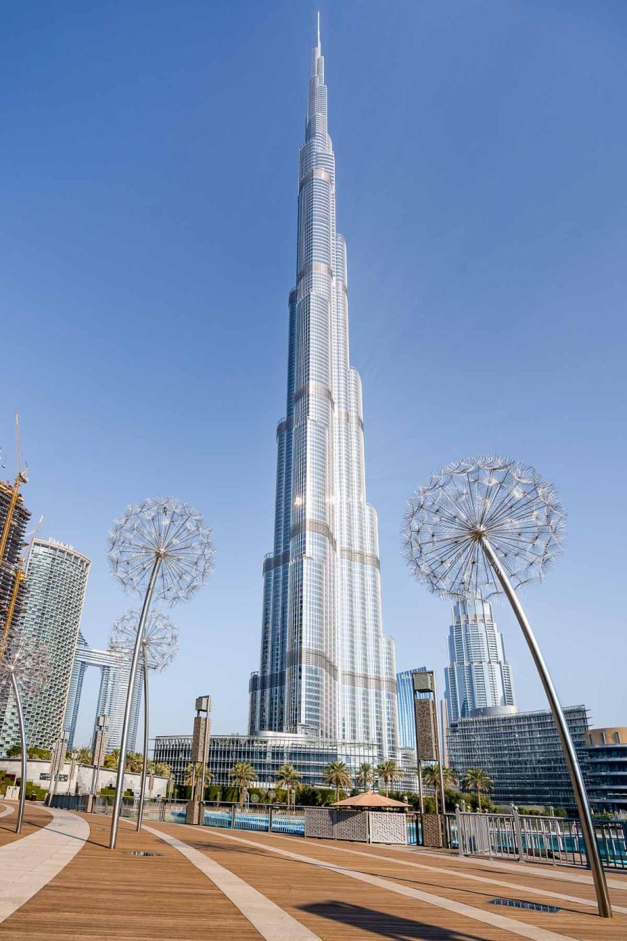 View of the Burj Khalifa from Burj Park by Emaar in Dubai