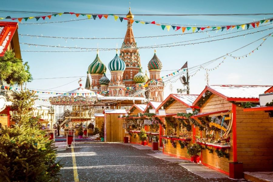 Christmas market in Moscow, Russia