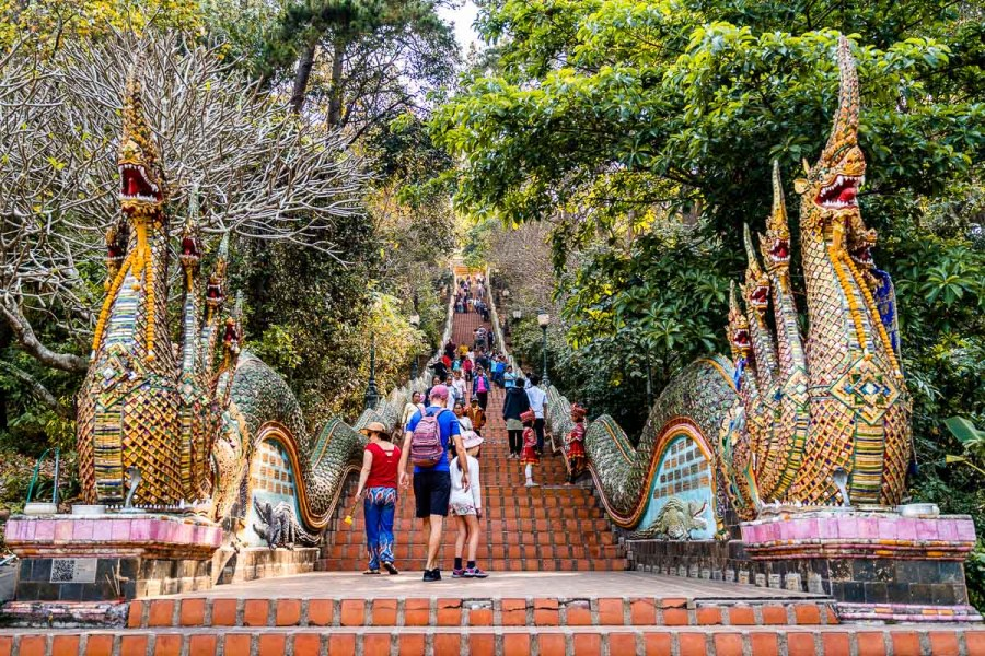 Staircase flanked by saga at Doi Suthep Temple in Chiang Mai