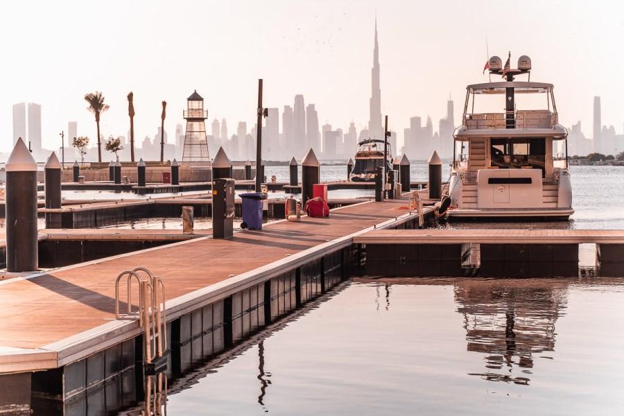 View of the Dubai skyline from the Dubai Creek Harbour