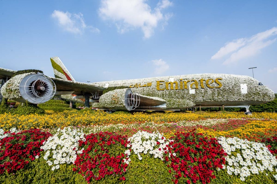 Emirates airplane made by flowers in the Dubai Miracle Garden