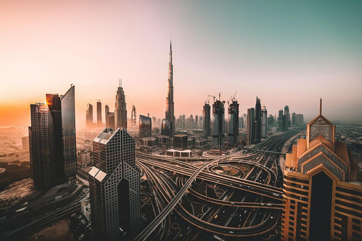 View of the Dubai skyline at sunset