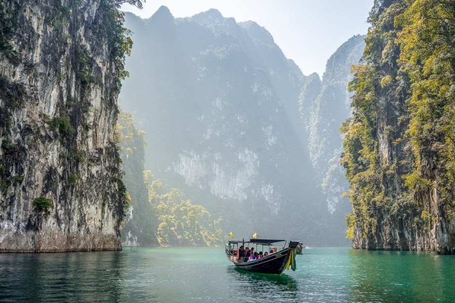 Boat on the water at the Khao Sok National Park, Thailand
