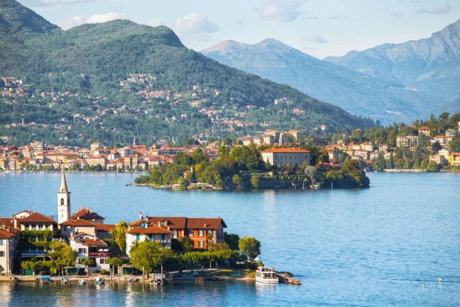 Panoramic view over Lago Maggiore in Italy
