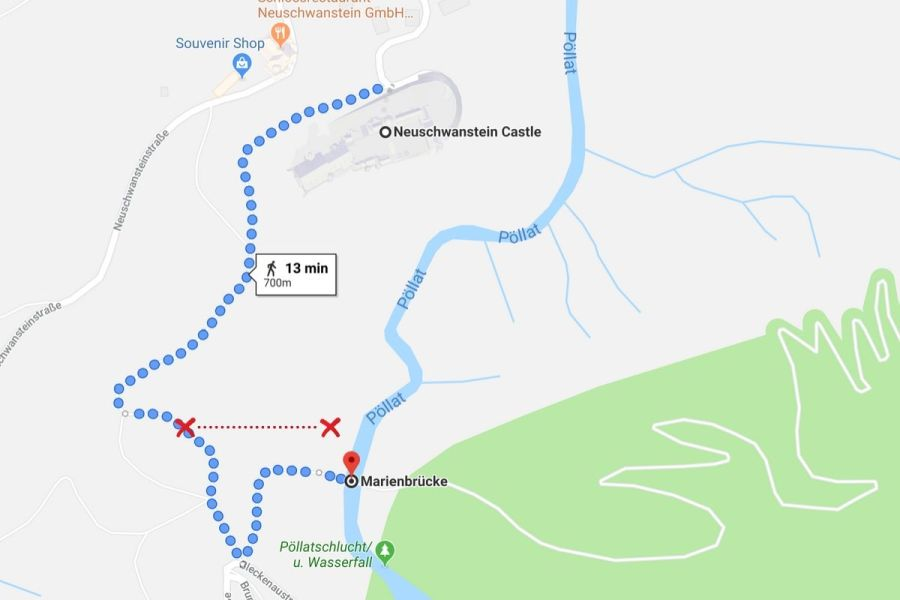 Map for how to find the best viewpoint at Neuschwanstein Castle