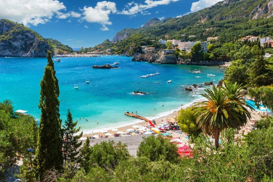 Paleokastritsa Beach on Corfu, Greece