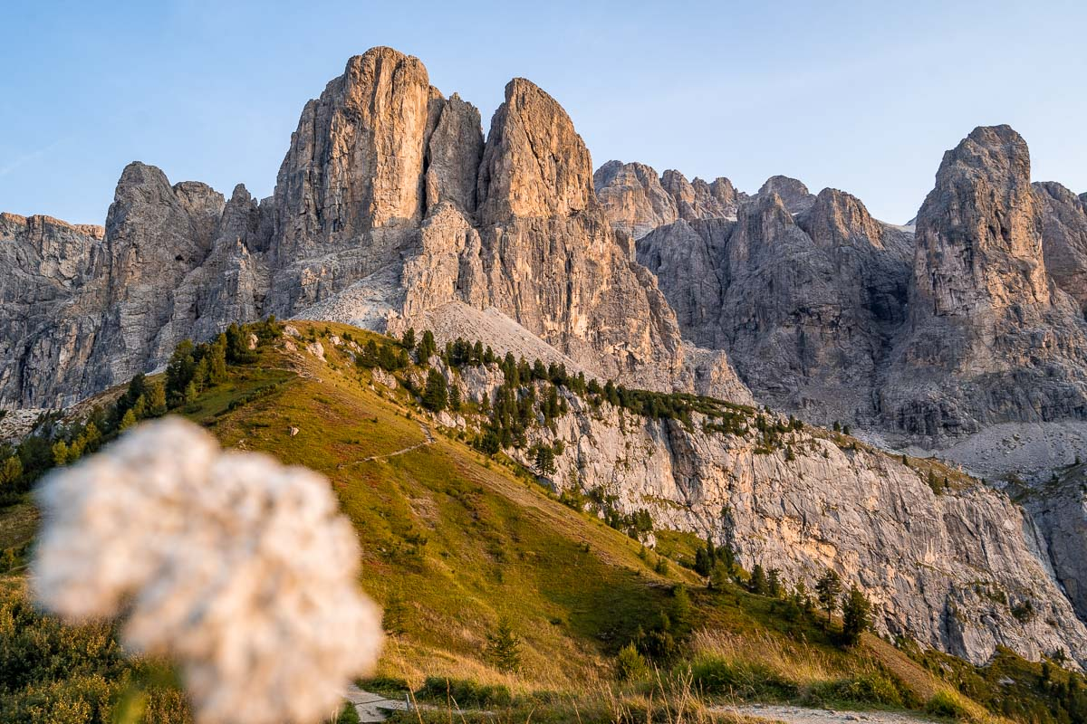 Sunset at Passo Gardena in the Dolomites