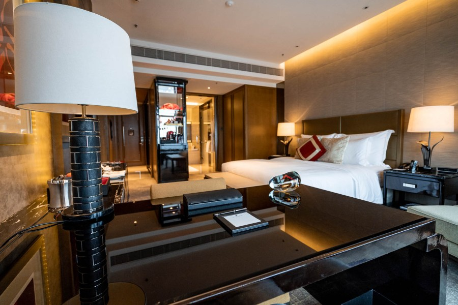 Room with a king sized bed in the Ritz Carlton Hong Kong