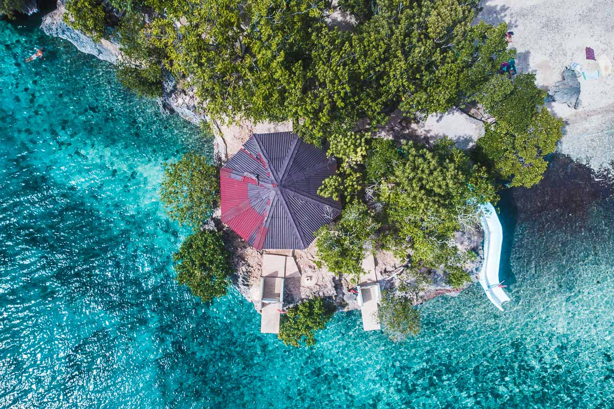 Aerial view of Salagdoong Beach in Siquijor, Philippines