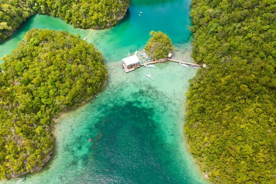 Aerial view of Sugba Lagoon in Siargao, Philippines