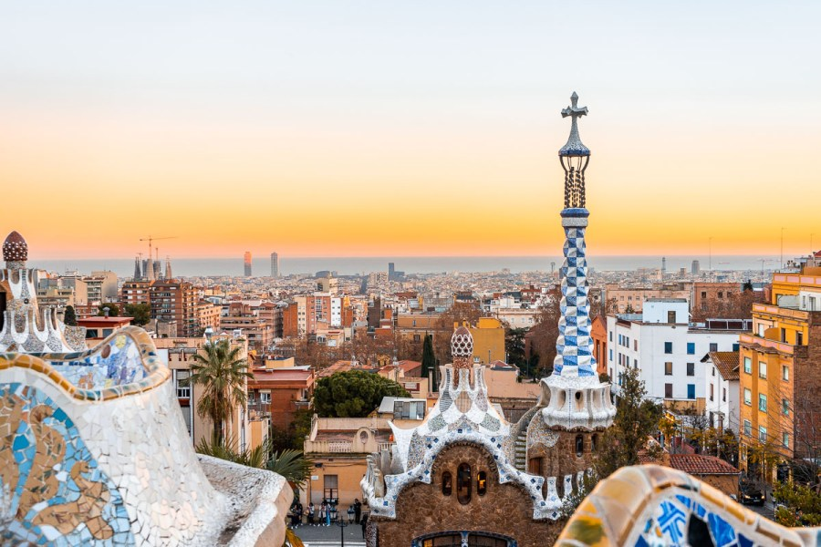 Sunset at Park Guell in Barcelona