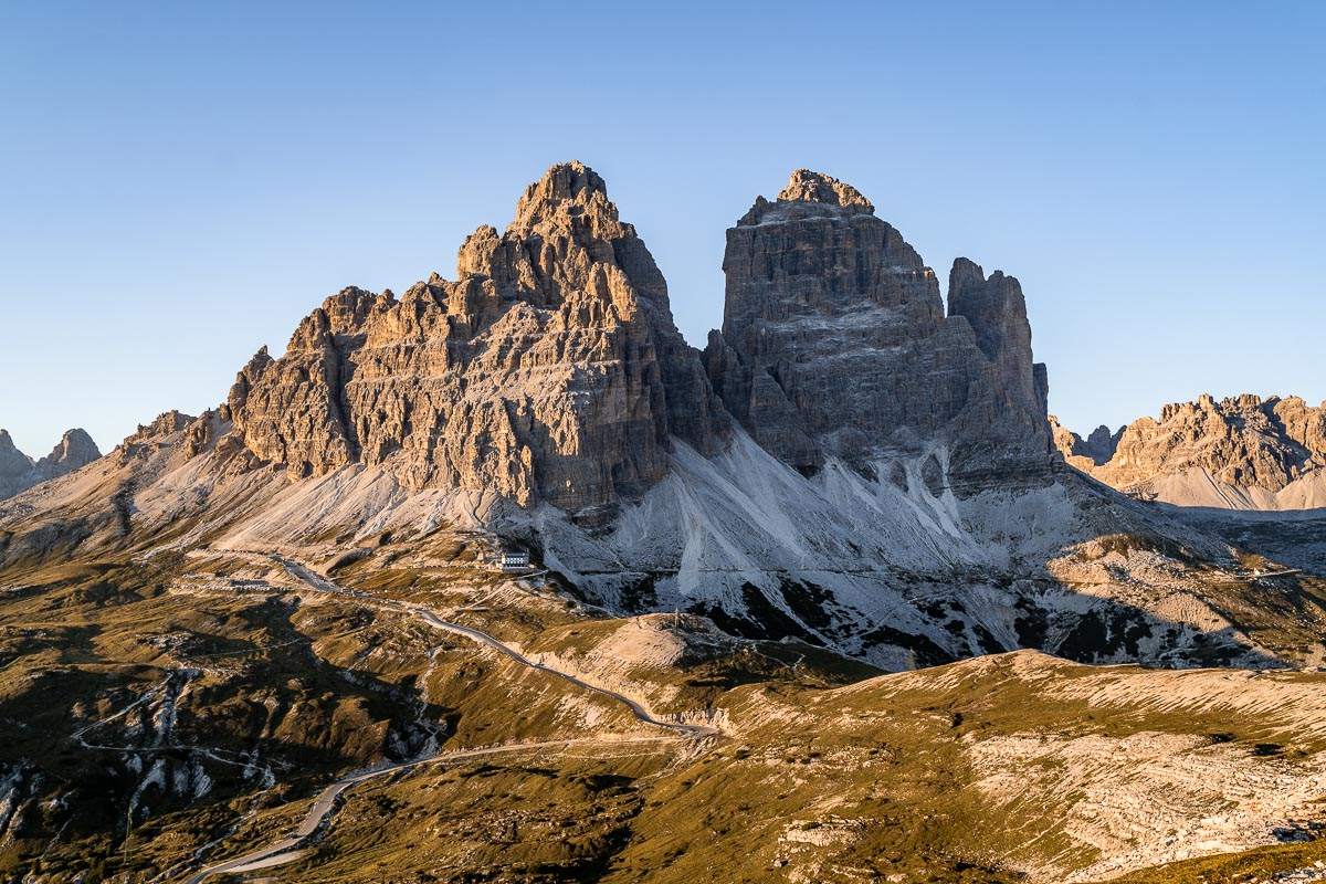 Sunset at Tre Cime di Lavaredo in the Dolomites