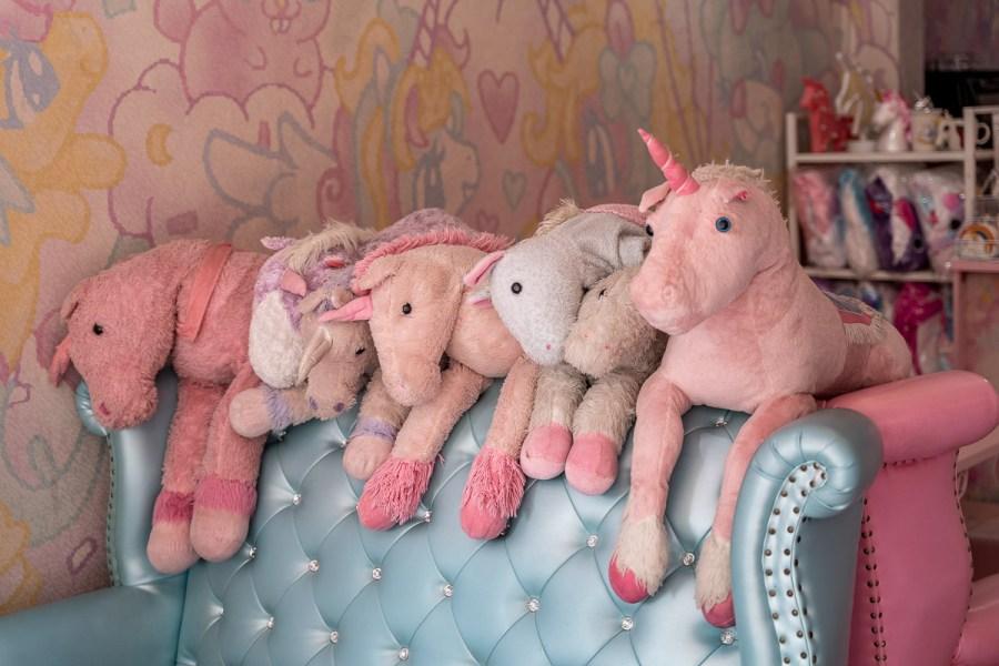 Plush unicorns at the Unicorn Cafe in Bangkok
