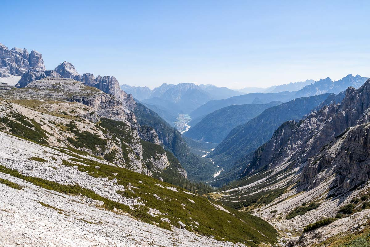 View during the Tre Cime di Lavaredo hike in Italy