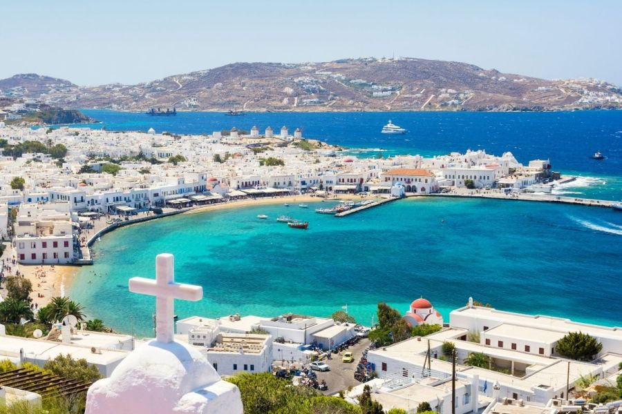 View of Mykonos Town in Greece